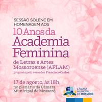 Câmara homenageia Academia Feminina de Letras e Artes de Mossoró