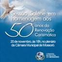 Câmara realiza solenidade em homenagem aos 50 anos da Renovação Carismática em Mossoró