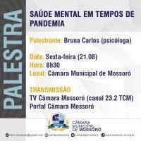 'Saúde Mental em Tempos de Pandemia' é tema de palestra na Câmara